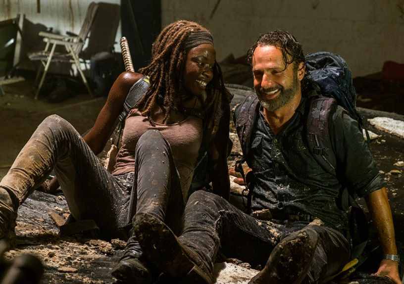 Michonne (Danai Gurira) and Rick Grimes (Andrew Lincoln) in The Walking Dead episode 7.12 Photo by Gene Page/AMC